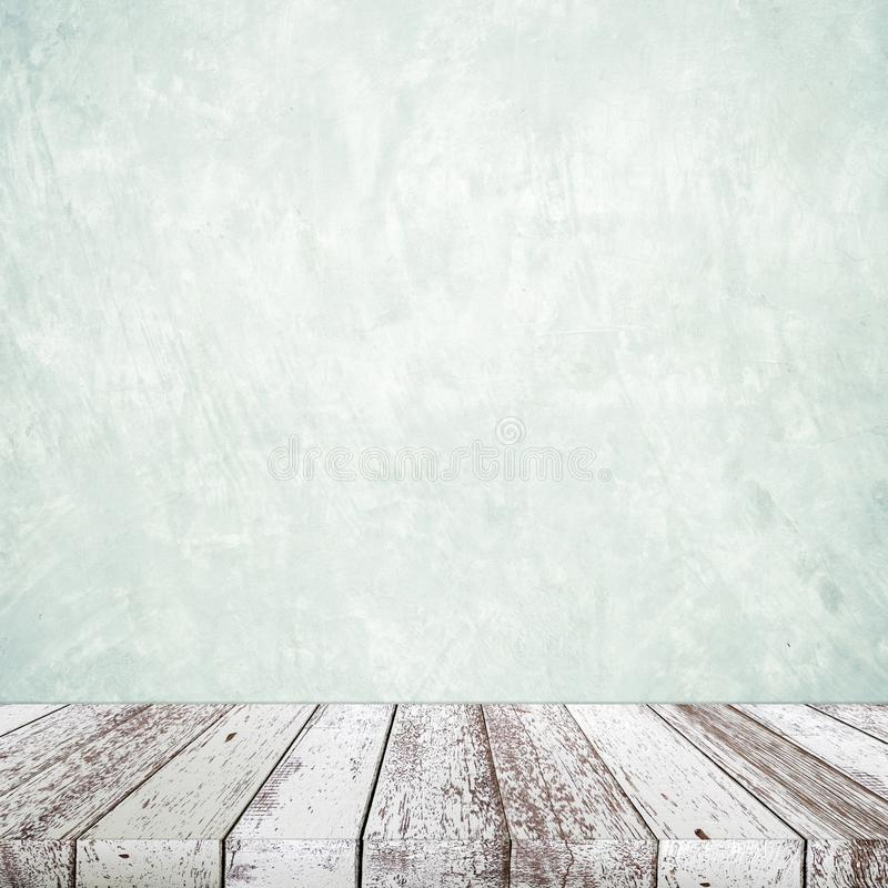 Empty perspective vintage white wood and green cement wall background, room, table top, shelf for product display montage. Background royalty free stock photos