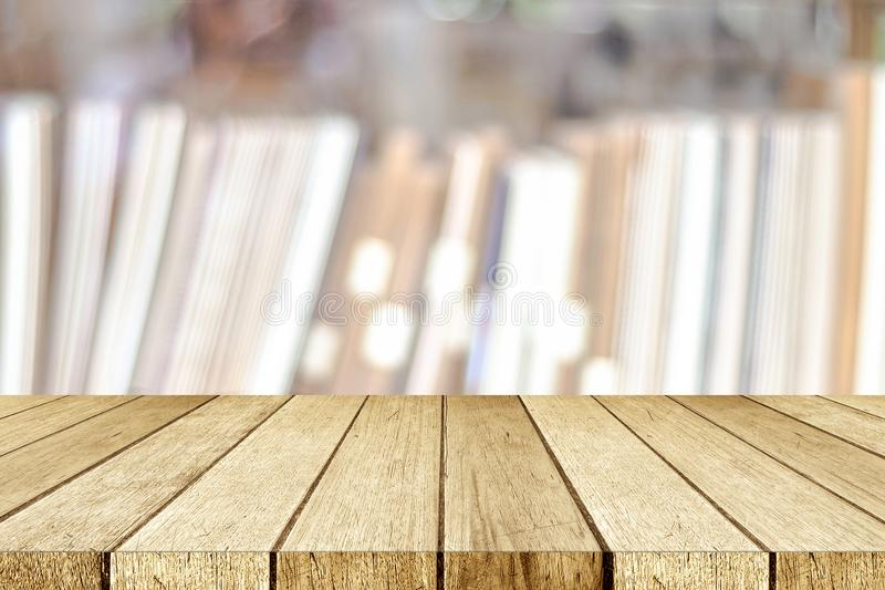 Empty Perspective Wood Table Shelf Over Blur Bookshelves At B