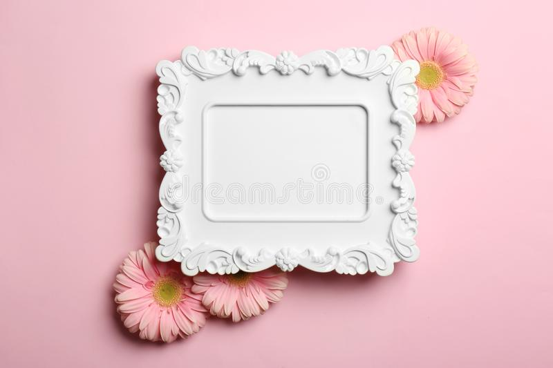 Empty photo frame and flowers on color background royalty free stock photos