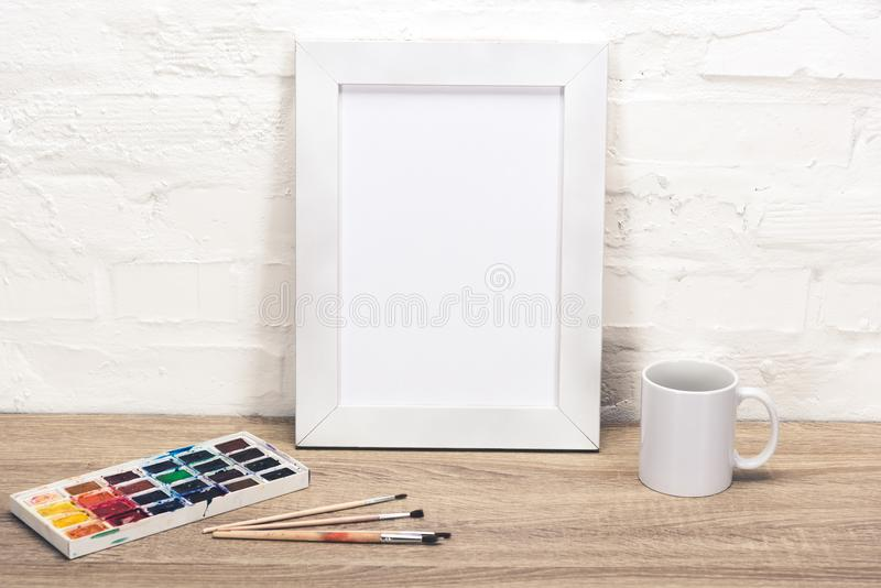 empty photo frame on table royalty free stock image