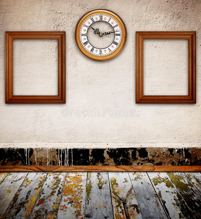 Download Empty Photo Frames Against An Wall In Old Room Stock Image - Image of floor, decoration: 19522179