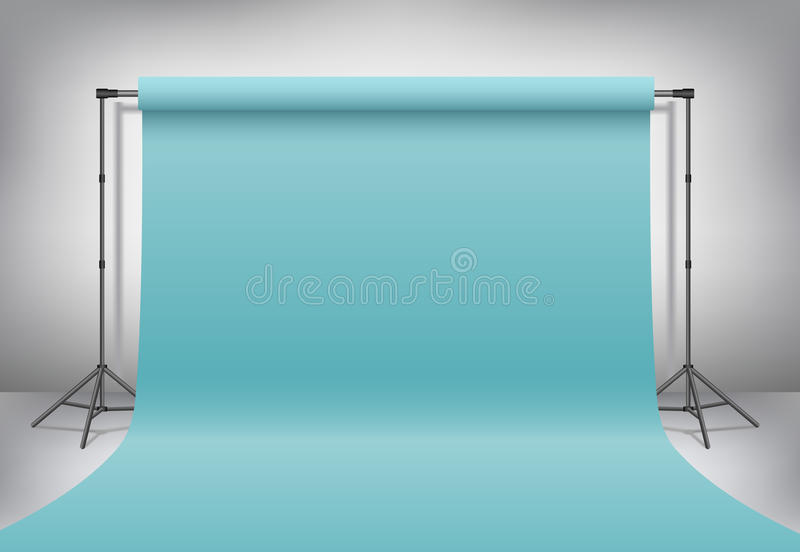 Empty photo studio. Realistic 3D template mock up. Vector. Empty photo studio. Realistic 3D template mock up. Backdrop stand tripods with pastel turquoise, blue royalty free illustration