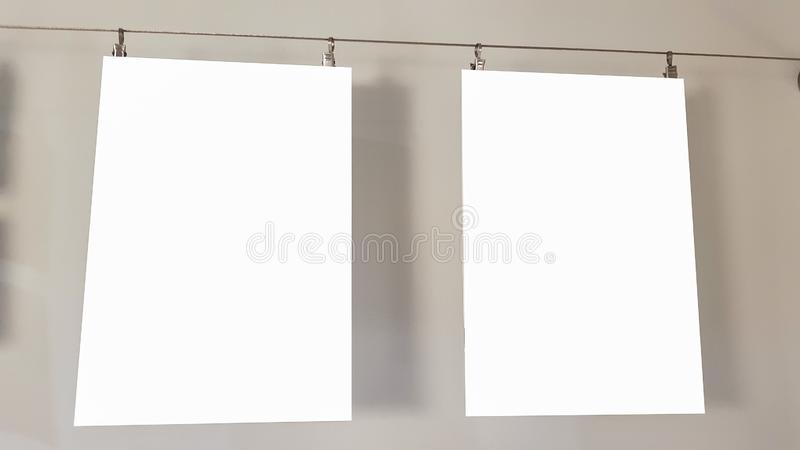 Two Empty Frame Blank Advertisement Banner Poster Mock Up Isolated Template Clipping Path. Empty Picture Frame Blank Advertisement Banner Poster Mock Up Isolated royalty free stock image