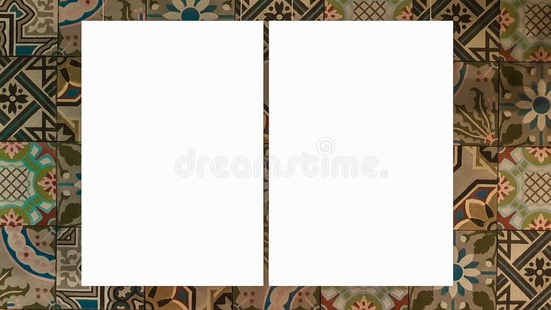 Two Empty Frame Blank Advertisement Banner Poster Mock Up Template Clipping Path. Empty Picture Frame Blank Advertisement Banner Poster Mock Up Template Clipping royalty free stock photo