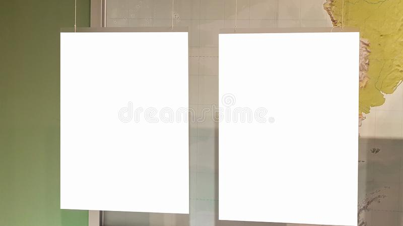 Two Empty Frame On The Shelf With Books.Blank Advertisement Banner Poster Mock Up Isolated Template Clipping Path. Empty Picture Frame Blank Advertisement Banner royalty free stock images