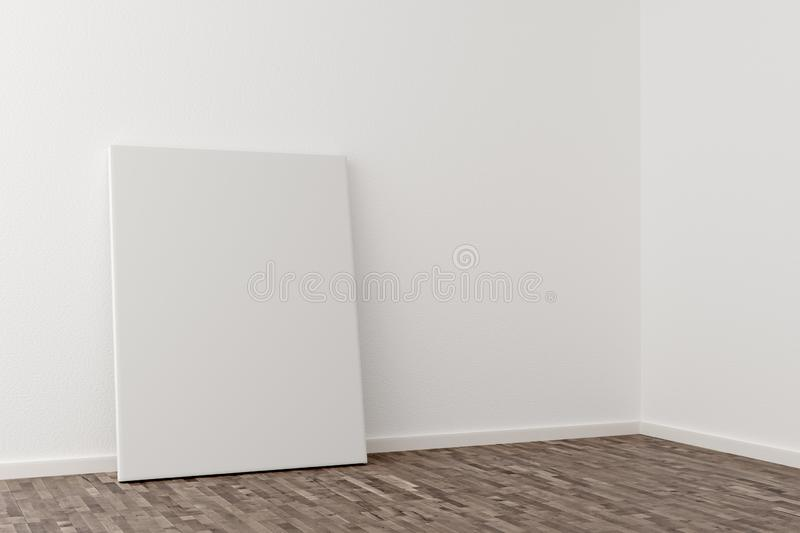 Empty picture frame canvas leaning against white wall in bright room with wooden floor with copy space - portfolio, gallery or. Empty picture frame canvas stock illustration