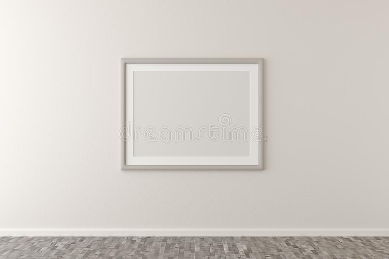 Empty picture frame hanging on white wall in bright room with wooden floor with copy space - portfolio, gallery or artwork. Empty picture frame hanging on white royalty free illustration