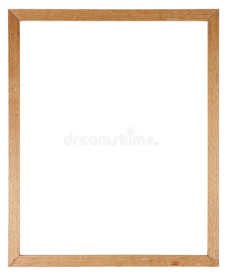 Empty picture frame in a wood grain moulding. Empty picture frame isolated on white in a simple oak wood grain moulding stock photo