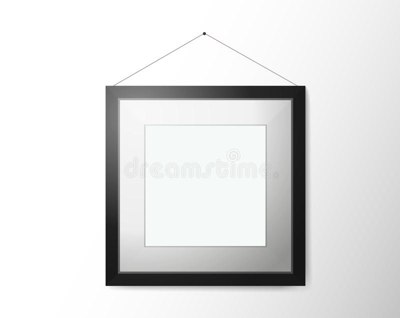 Empty picture frame with shadow on wall stock illustration