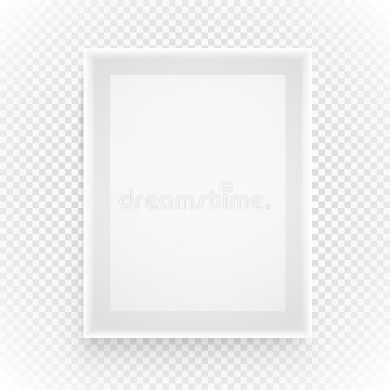Empty picture frame on transparent. Background stock illustration
