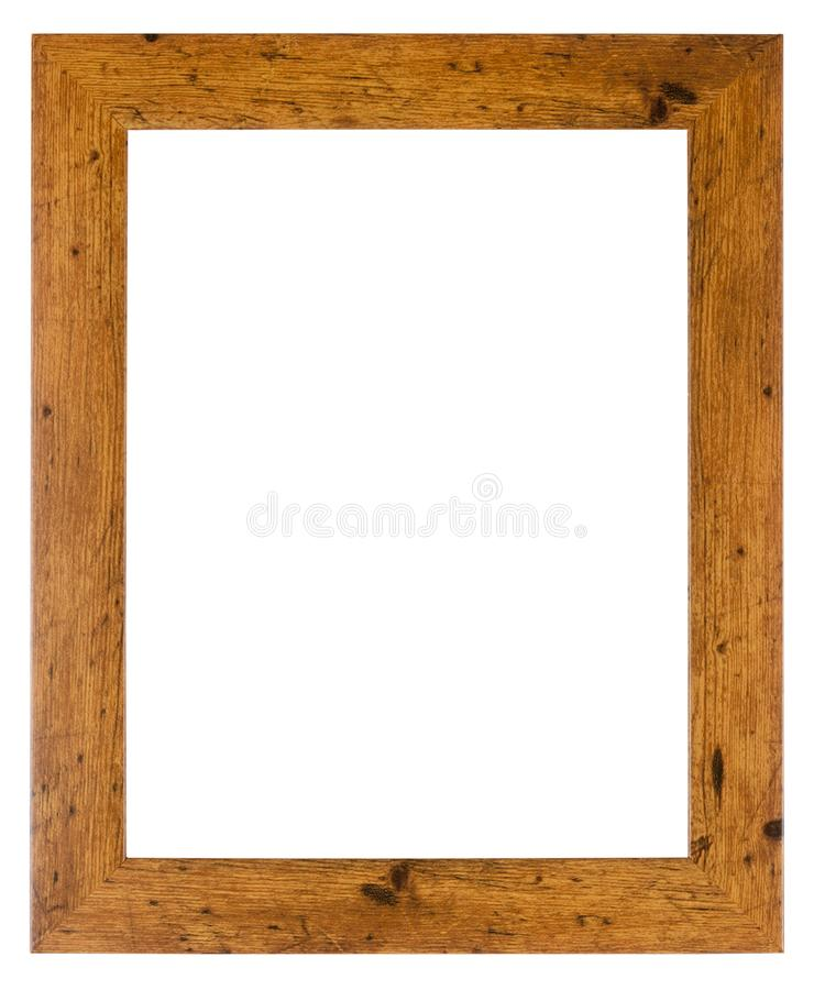 Empty picture frame in a wood grain moulding. Empty picture frame isolated on white in a simple wood grain moulding stock image