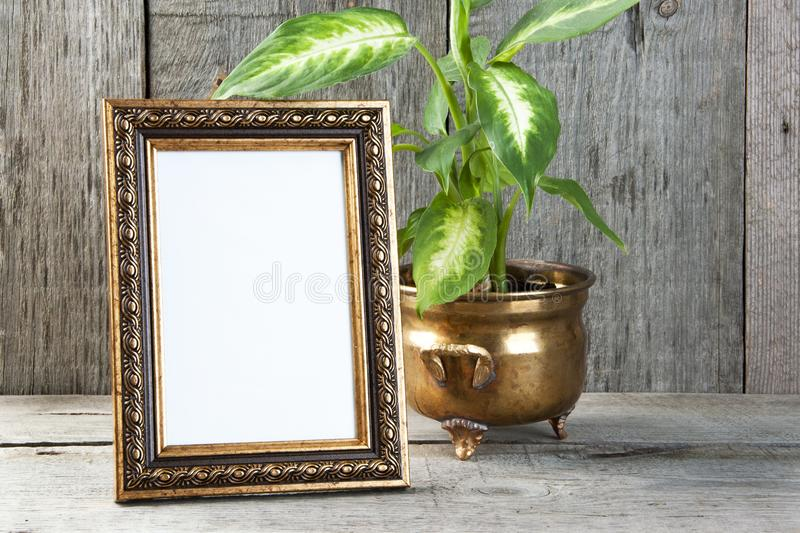 Empty picture frame on wooden background. stock image