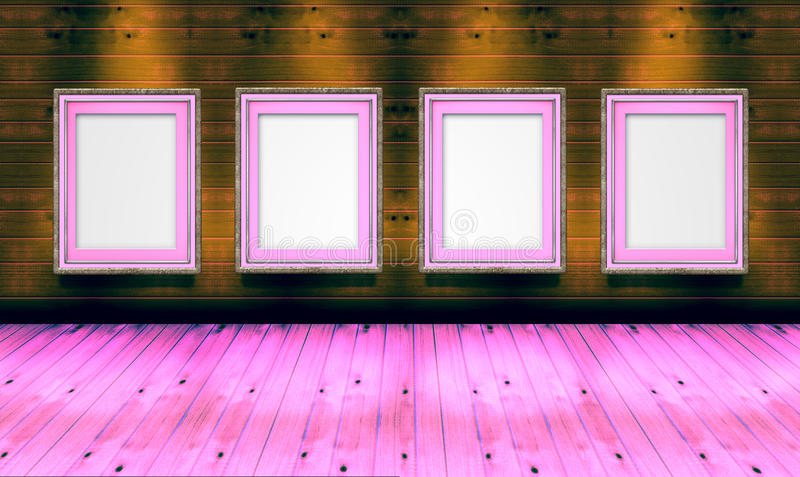 Empty picture frames in the art gallery wood royalty free stock image