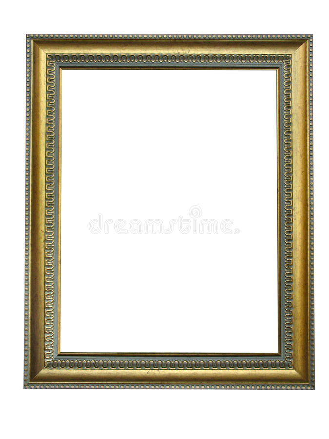 Empty picture gold frame with a decorative pattern royalty free stock images