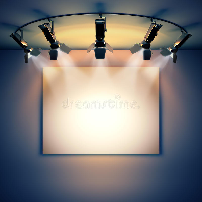 Empty picture illuminated by spotlights. vector illustration