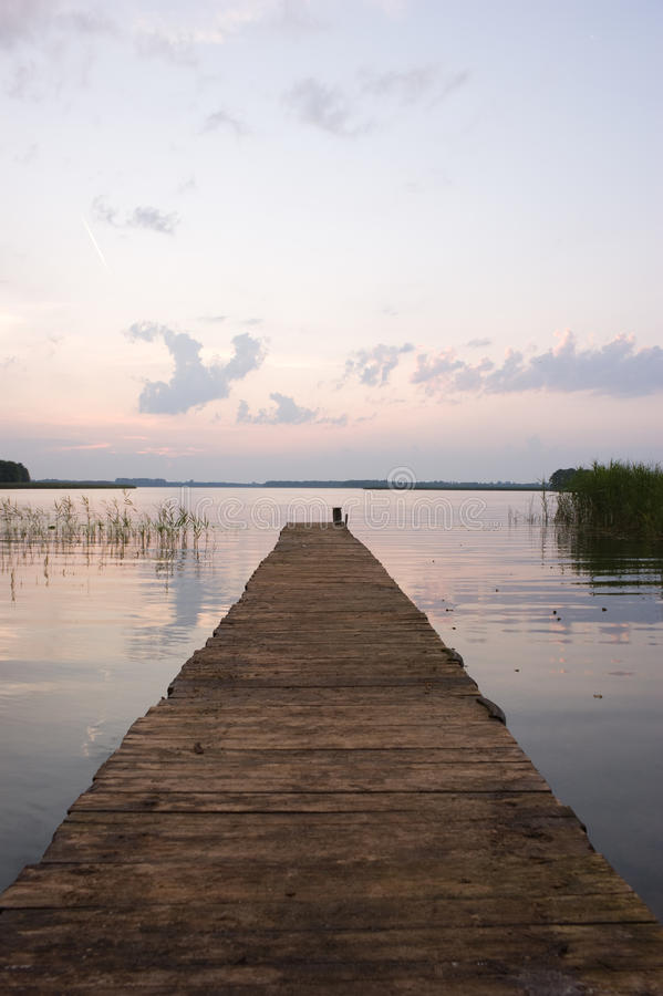 Free Empty Pier By Lake At Dawn Stock Images - 10681084