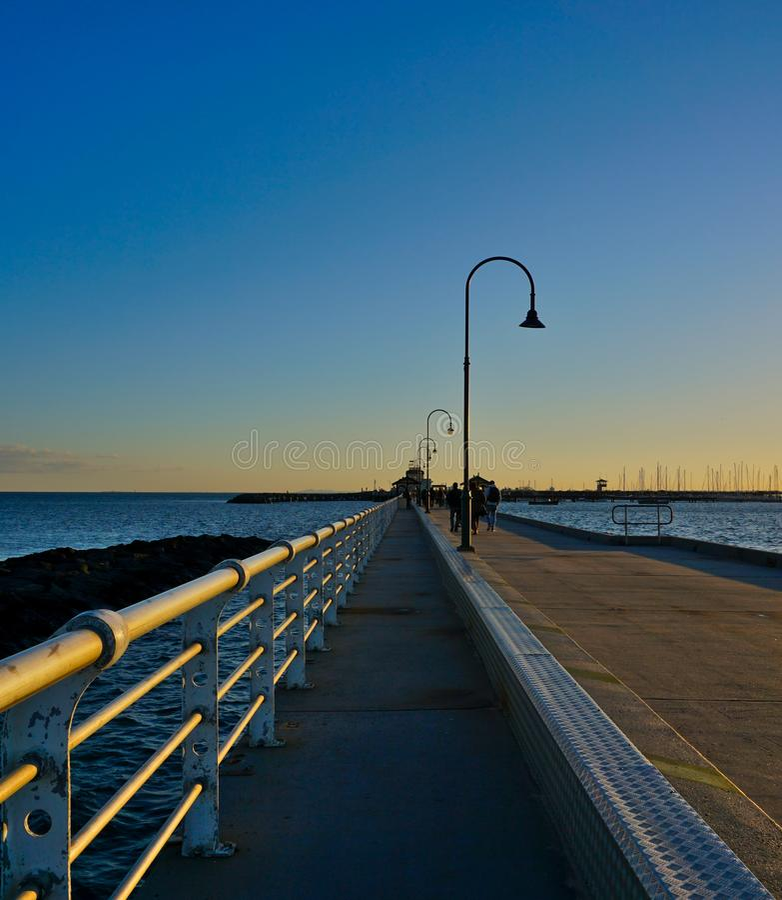 Empty Pier at St Kilda Beach Australia stock photography