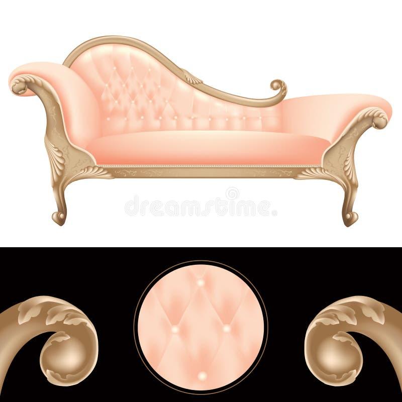 Empty pink and golden vintage sofa stock illustration