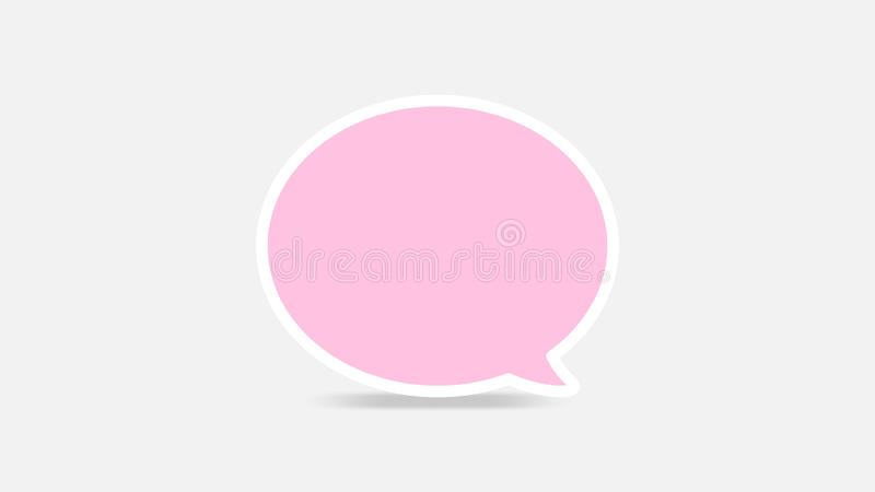 Empty pink speech bubbles single for ad, comic speech bubbles doodle or sticker dialog, price tag balloon speech single, bubbles stock illustration