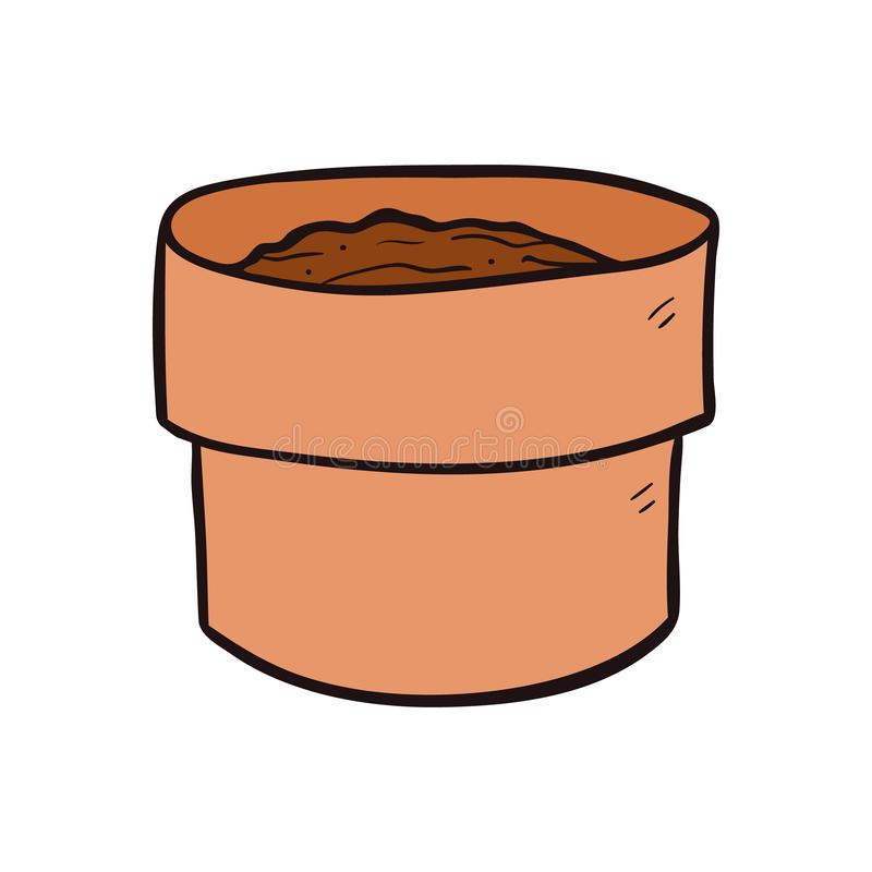 Empty plant earthen pot cartoon vector and illustration, hand drawn style, isolated on white background. vector illustration