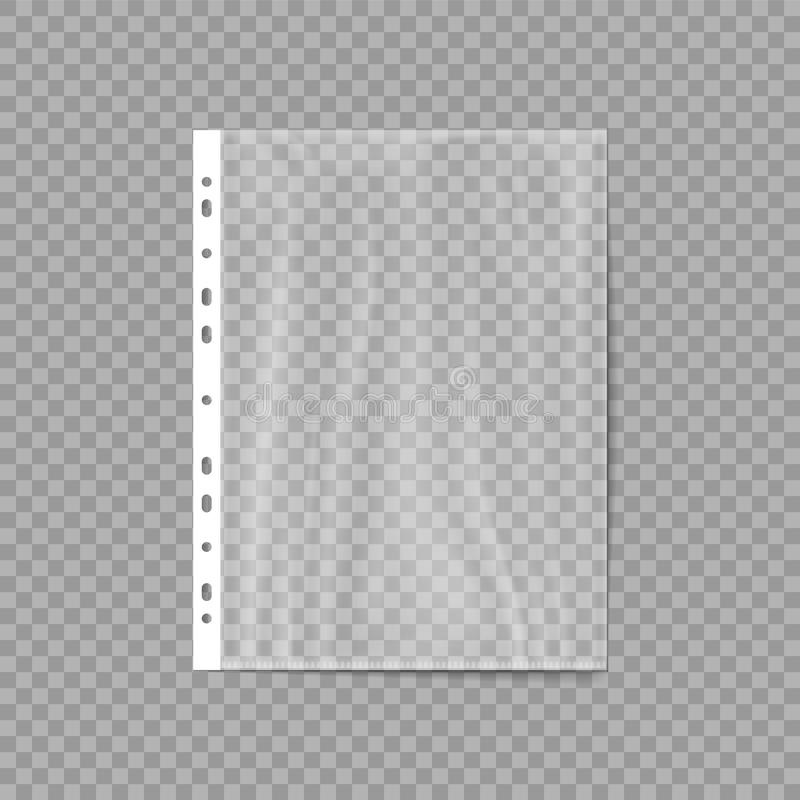 Empty Plastic Bag. Punched pocket. Business File. Sheet protector isolated on a transparent background. Vector illustration. royalty free illustration