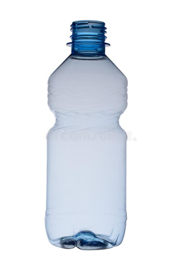 Empty plastic bottle for water opened, isolated on a white background stock photo