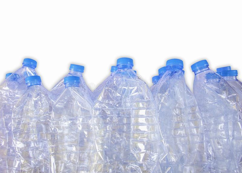Empty plastic bottles of water for recycle,Isolate on white background stock image