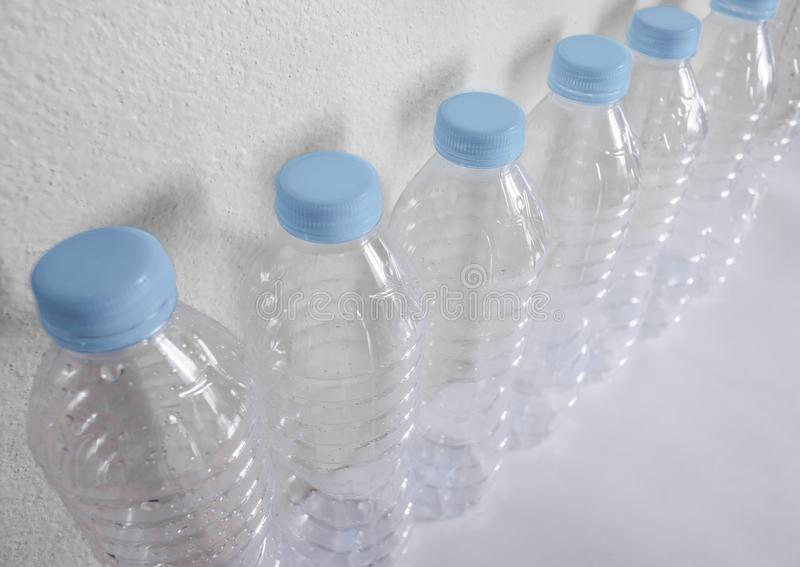 Empty plastic bottles of water for recycle stock photography
