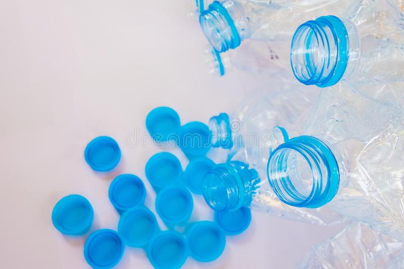 Empty plastic bottles of water for recycle royalty free stock photo