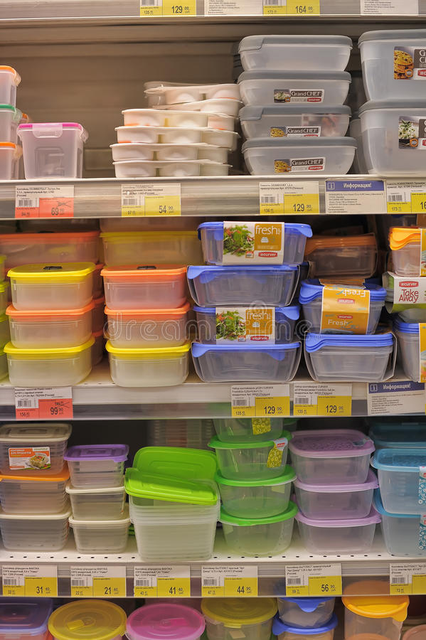 Empty plastic containers. On the supermarket shelf stock image