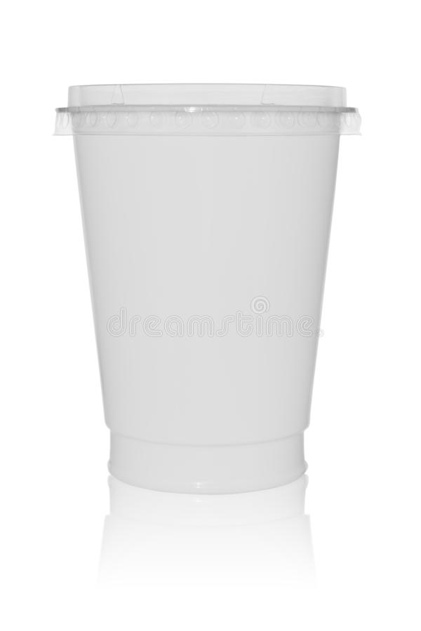 Empty plastic cup with a cover isolated on a white background with reflection stock image
