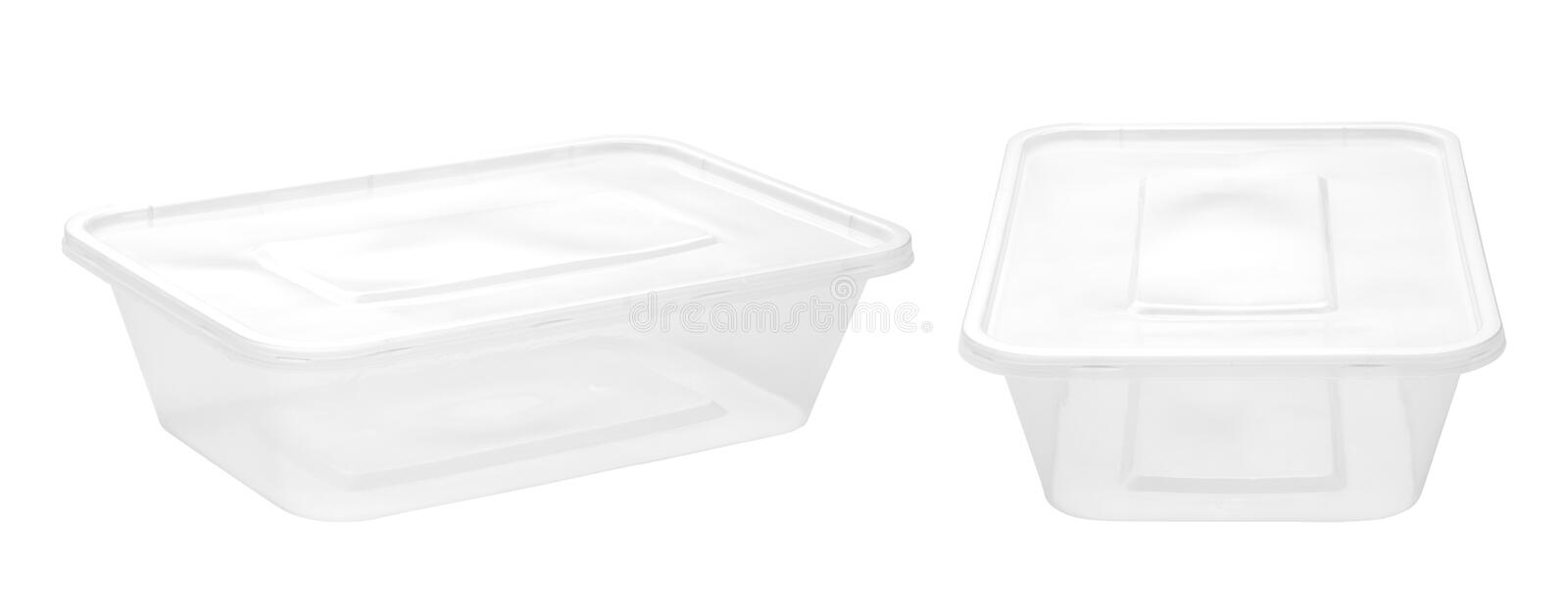 Empty plastic food boxes stock photography
