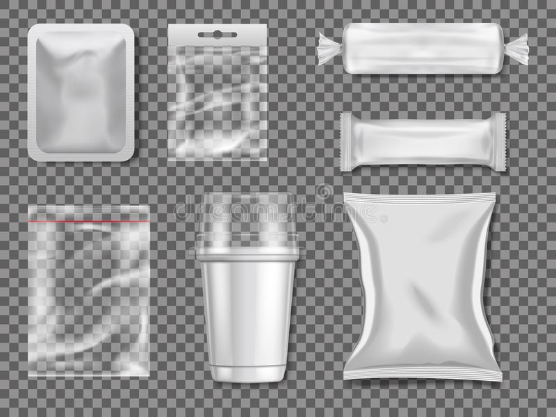 Empty plastic and transparency packages. Vector mockup pictures royalty free illustration