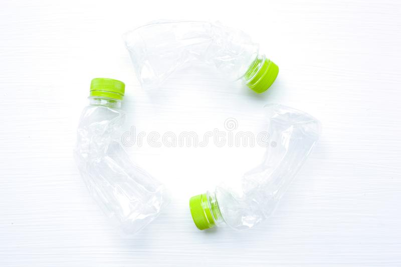 Empty plastic water bottle for recycling isolated, Concept of re stock photography