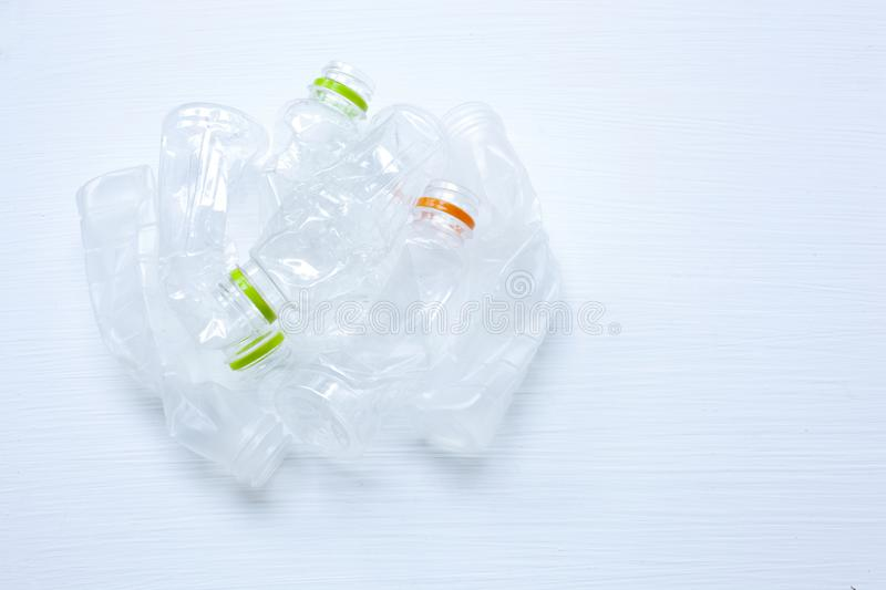 Empty plastic water bottle for recycling isolated. stock photos