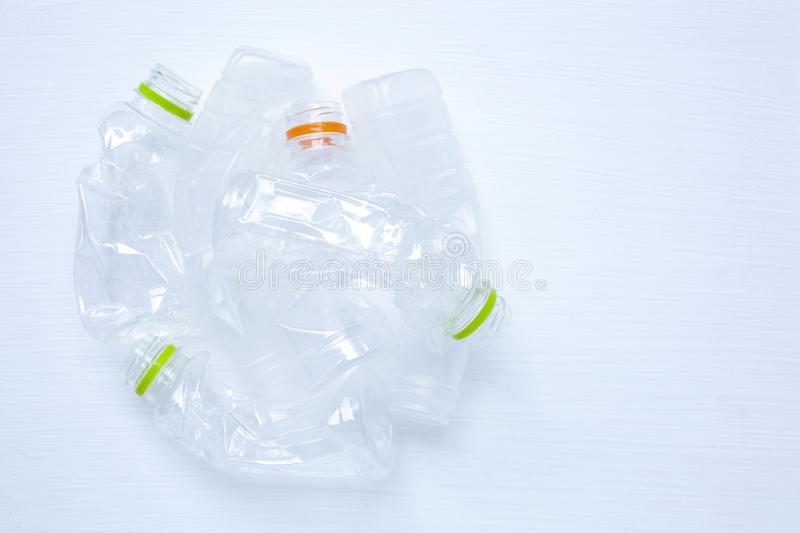 Empty plastic water bottle for recycling isolated. royalty free stock photo