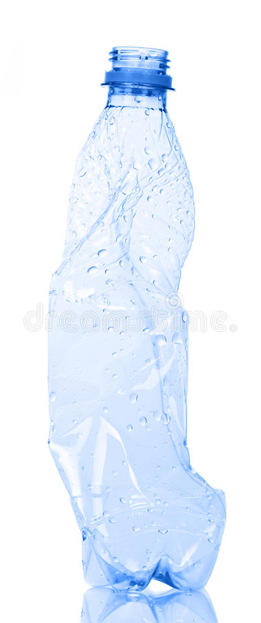 Empty plastic water bottle for recycling isolated on white. royalty free stock photo