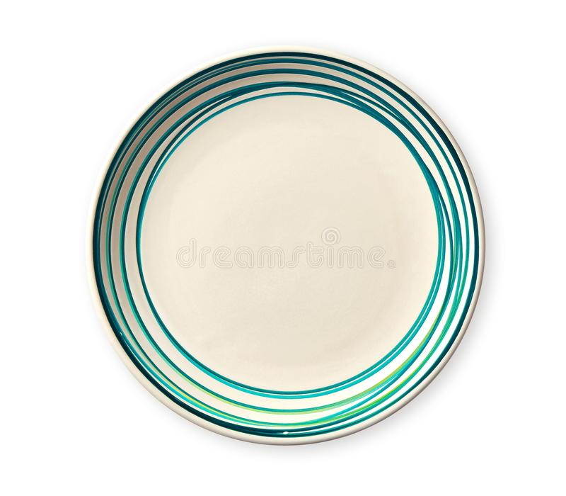 Empty plate with blue pattern edge, Ceramic plate with spiral pattern in watercolor styles, isolated on white background stock image