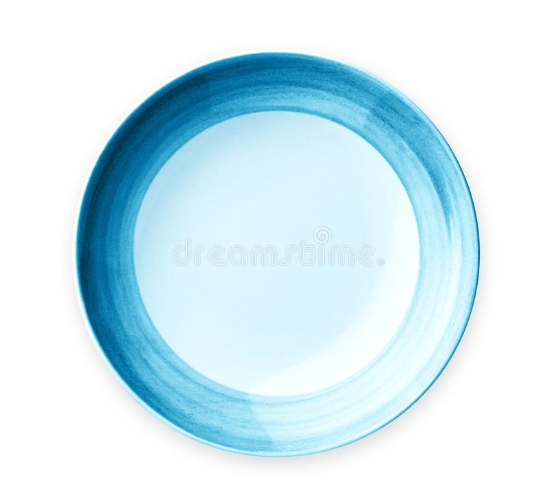 Empty plate with blue pattern edge, Ceramic plate with spiral pattern, isolated on white background royalty free stock images