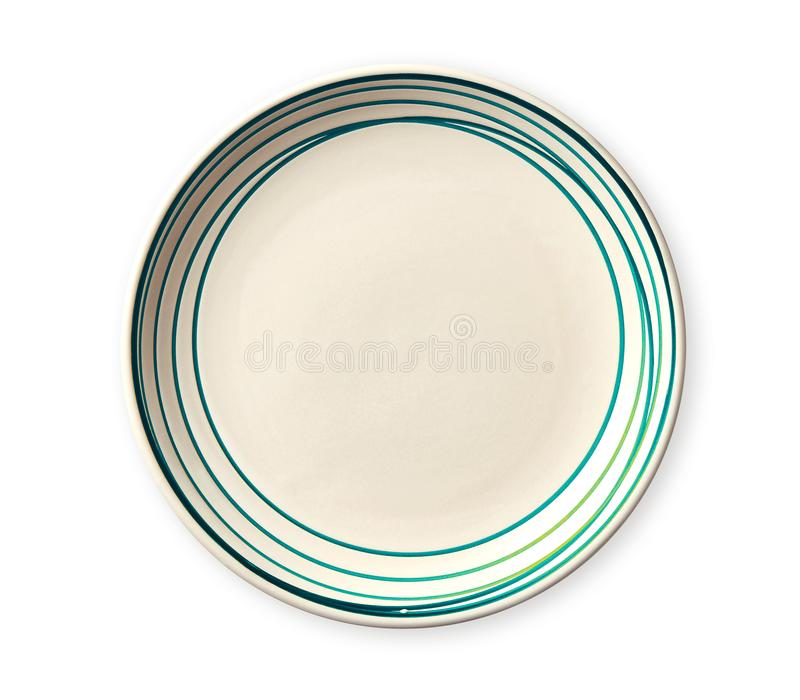 Empty plate with blue pattern edge, Ceramic plate with spiral pattern in watercolor styles, isolated on white background. Empty plate with blue pattern edge stock photo