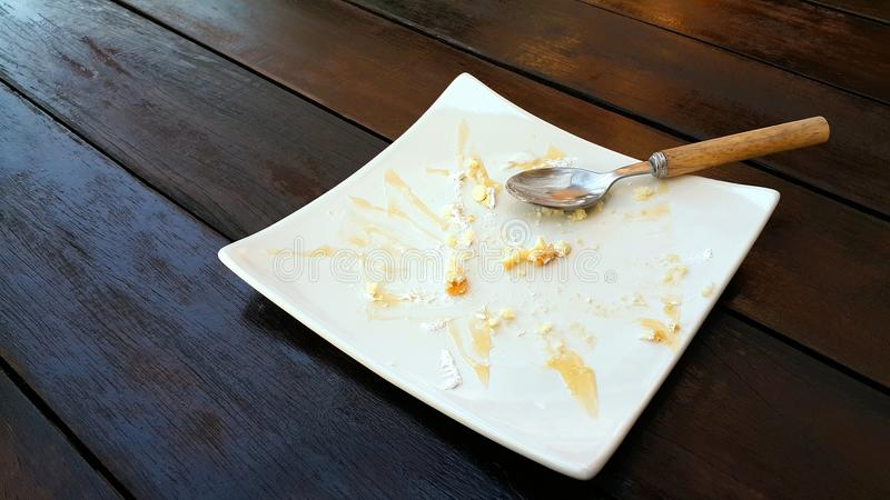 Download Empty Plate With Crumbles Of Eaten Cake And Used Spoon Stock Photo - Image of & Empty Plate With Crumbles Of Eaten Cake And Used Spoon Stock Photo ...