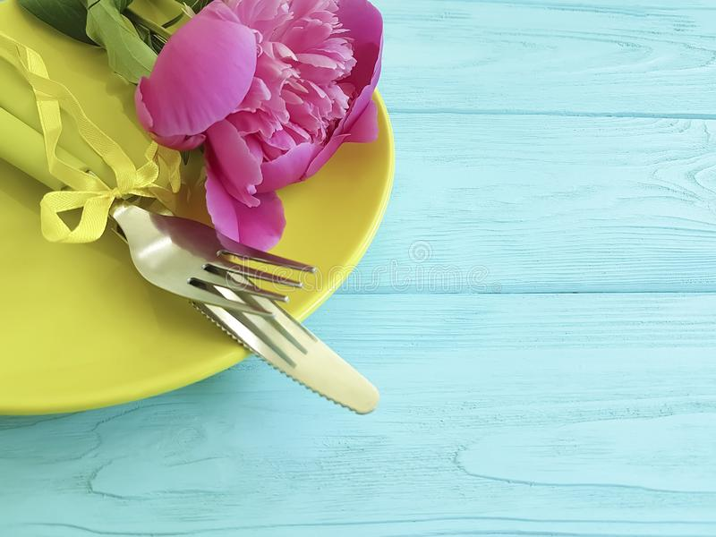 Empty plate flower peony design birthday romantic on blue wooden background. Empty plate flower peony romantic blue wooden background design birthday stock images