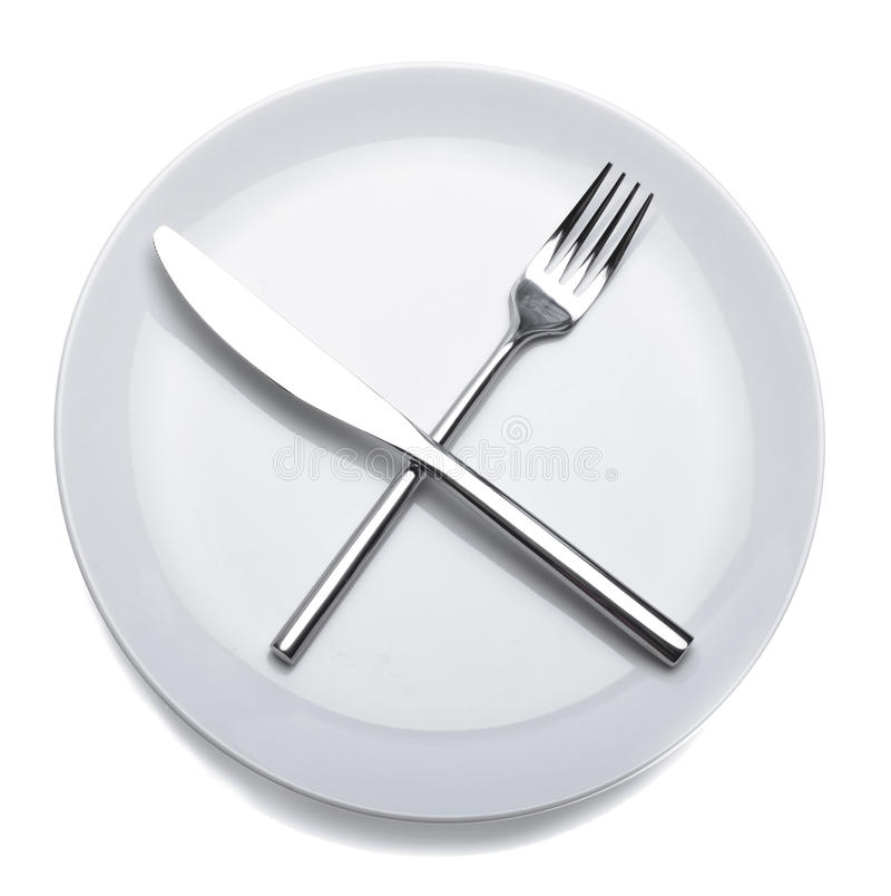 Empty plate with fork and knife stock images