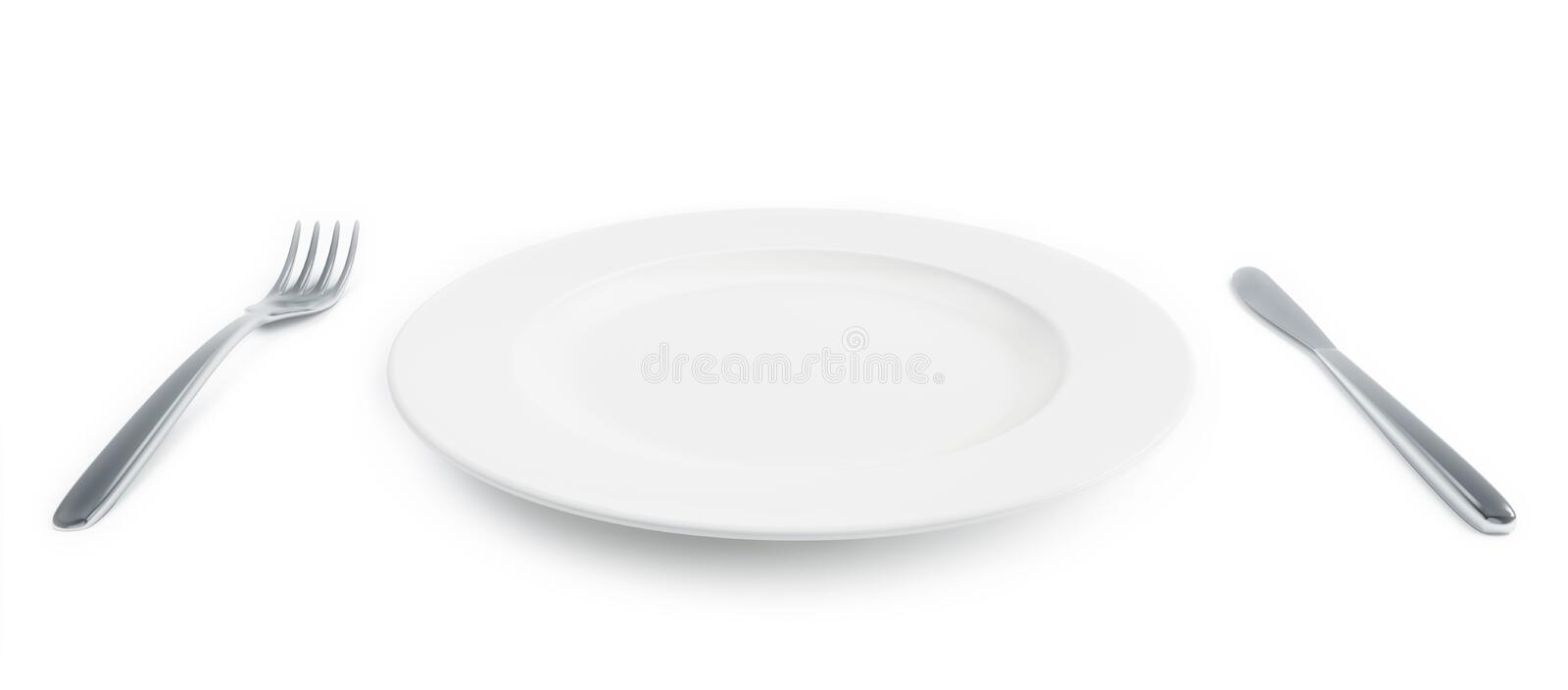 Empty plate with fork and knife vector illustration