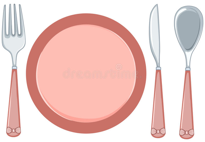 empty plate with fork and spoon and knife stock illustration