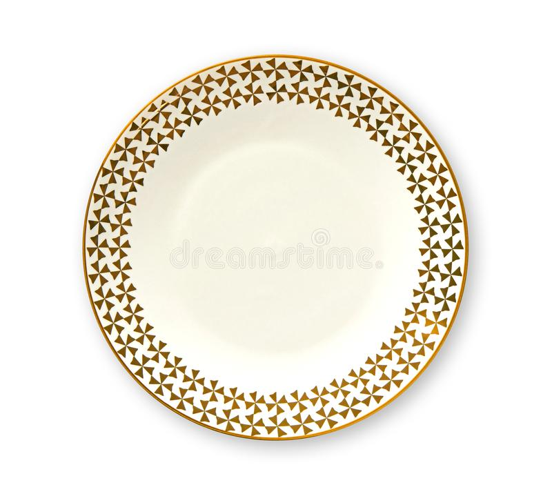 Empty plate with golden pattern edge, White round plate features a beautiful gold rim, View from above isolated on white backgroun royalty free stock photography