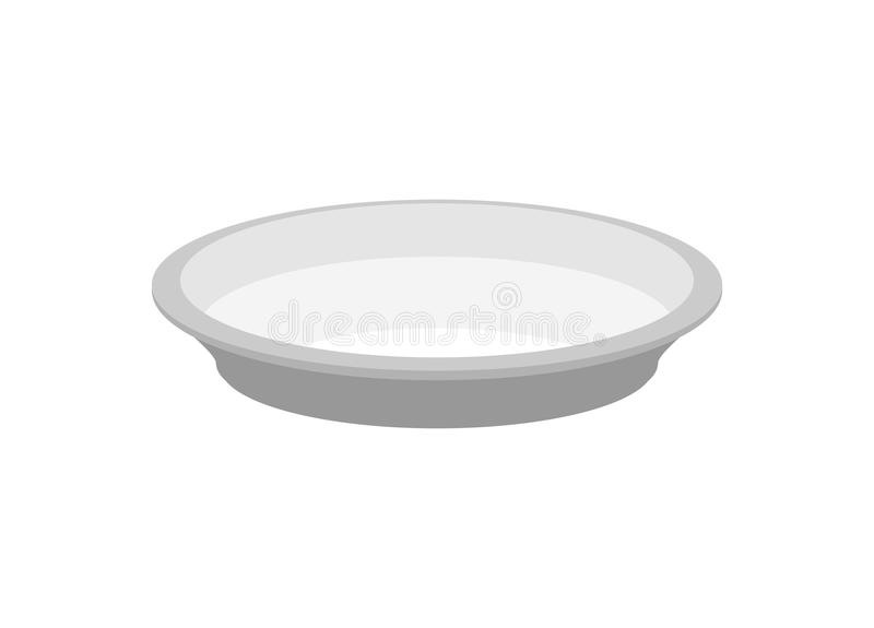 Empty plate isolated. large dish on white background vector illustration
