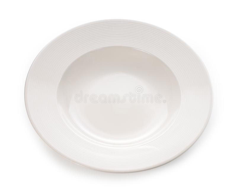 Empty plate isolated on white background royalty free stock photos