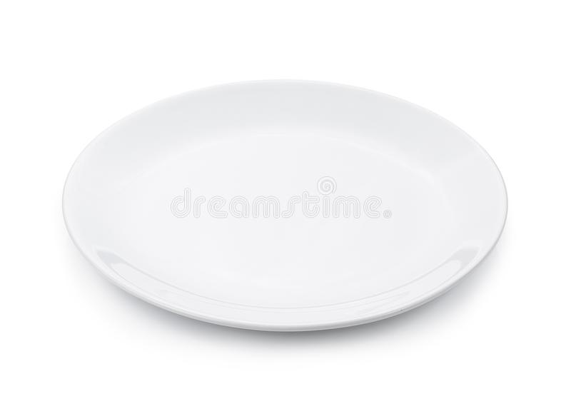 Empty plate isolated on white background stock image