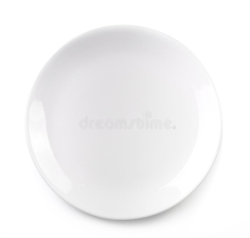 Empty plate isolated on white background stock photos